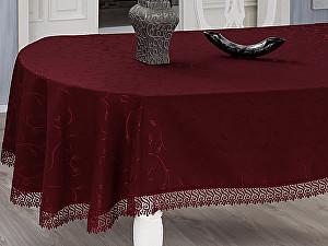 Овальная скатерть Evdy Kdk с гипюром 160х300 см, бордовая