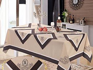 Скатерть KAZANOV.A. Ла-Рошель с салфетками, бежевый-шоколадный