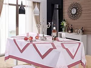 Скатерть KAZANOV.A. Ла-Рошель с салфетками, белый-старо-розовый