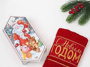 Купить полотенце Этель Дед Мороз, красное