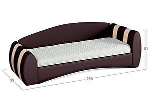 Кровать Moon Trade Кальвет (правая) Модель 386 Кофе/Суфле с основанием