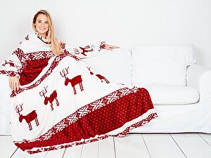 Купить плед Sleepy New Year с рукавами, бордовые олени