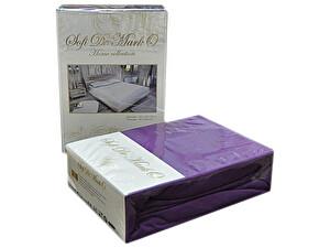 Простыня Sofi De Marko Трикотажная 160-180х200 см с наволочками, фиолетовая, на резинке