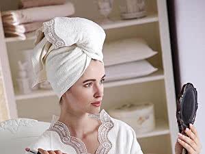 Купить халат Tivolyo Bamboo S-M с полотенцем 50х100 см, кремовый