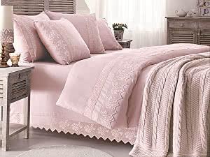 Постельное белье Gelin Home с пледом, Erguvan темно-розовый