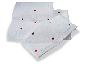 Купить полотенце SoftCotton Love 50х100 см, белый-красный