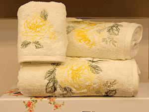 Набор из 3-х полотенец Tivolyo Rose Nakisli, кремово-желтый