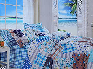 Постельное белье Cotton Life Patchwork (50х70 см), голубой