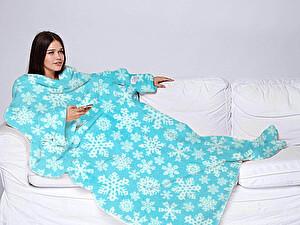 Купить плед Sleepy New Year с рукавами, голубой со снежинками