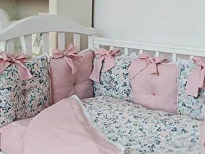 Купить комплект ОТК Горошек-цветы, розовый
