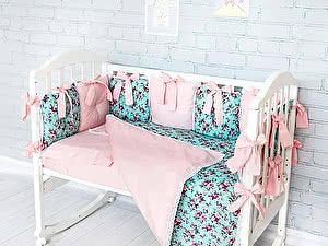 Купить комплект ОТК Цветы на розовом и на бирюзовом