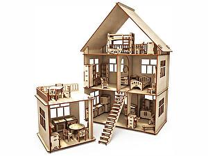 Купить конструктор ХэппиДом Коттедж с пристройкой и мебелью