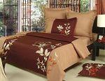 Коричневое  постельное белье с цветами. Купите комплект постельного белья коричневого цвета с цветочными принтами! | SPIM.RU - Москва