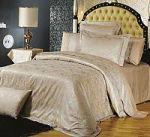 Бежевое постельное белье из жаккарда | SPIM.RU - Москва | 8-800-555-60-55
